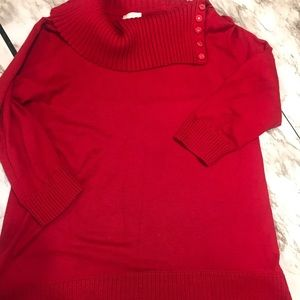 Cato Red Cowl Split Neck Sweater